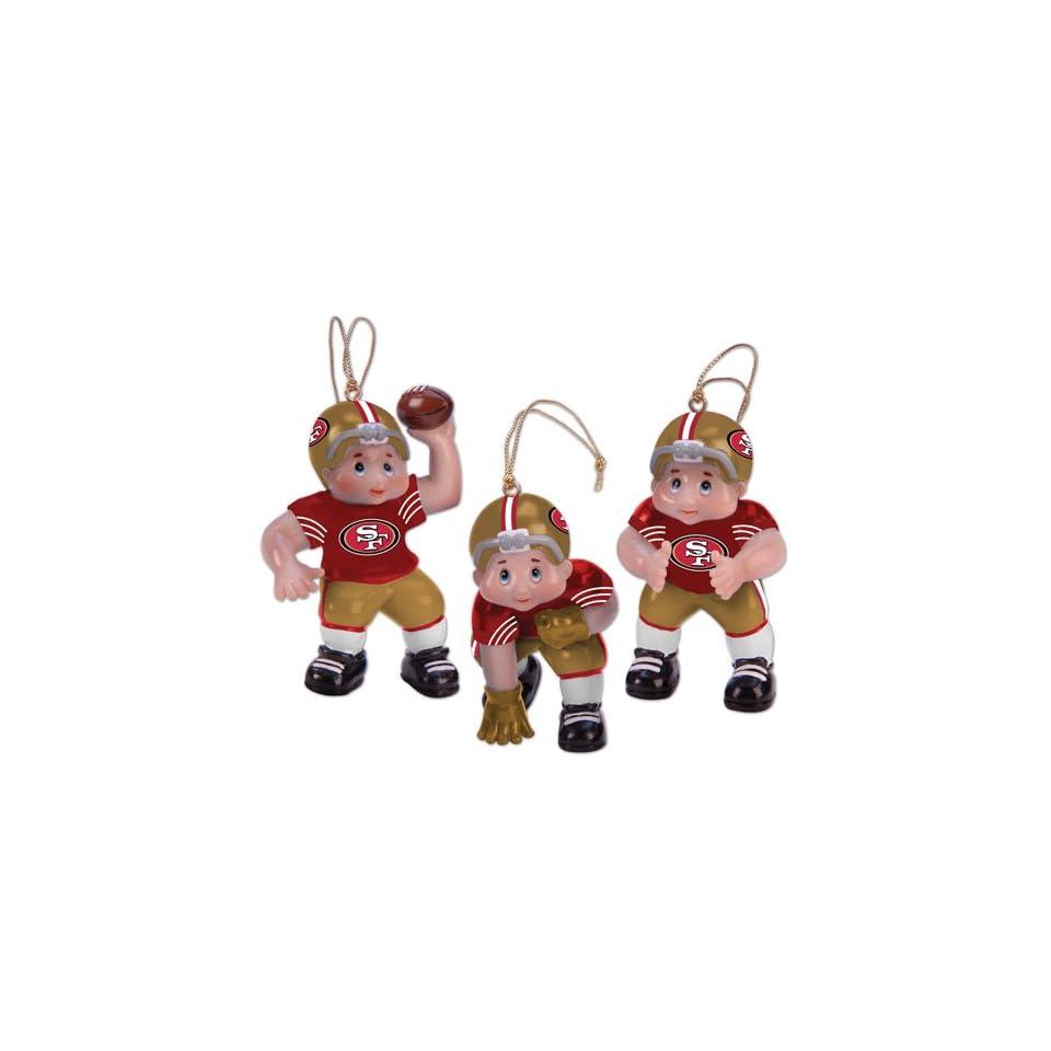 Set of 3 NFL San Francisco 49ers Little Guy Football Player Christmas Ornaments