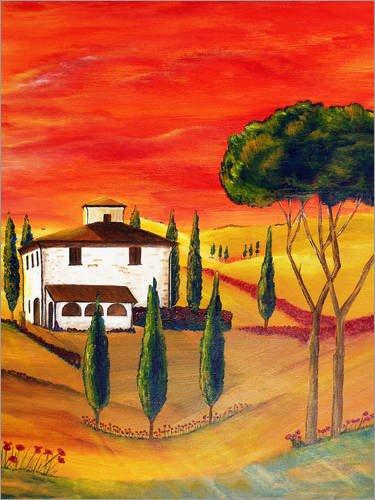 Leinwandbild-70-x-90-cm-Wrme-der-Toskana-von-Christine-Huwer-fertiges-Wandbild-Bild-auf-Keilrahmen-Fertigbild-auf-echter-Leinwand-Leinwanddruck