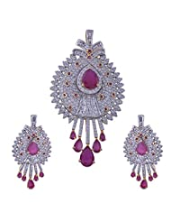 Nimbark Traders Brass And Metal White & Red Color Designer Pendent Set With Earrings For Women - B00RFRGVU4