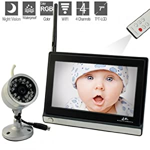 2.4GHz Wireless Waterproof Aluminum Baby Monitor with Remote Controller and 380 TV Lines - 7 Inch LCD Display