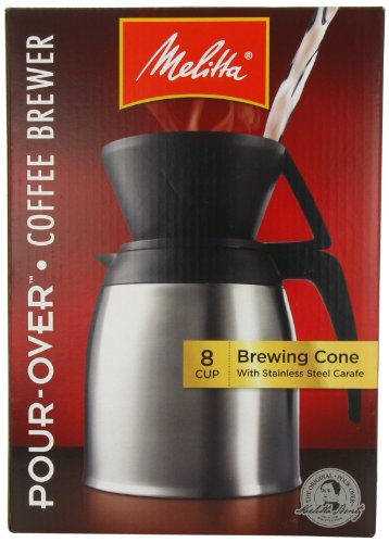 Melitta Coffee Maker,  8  Cup Pour- Over Brewer with Stainless Thermal Carafe