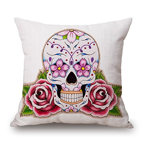 Beautfuldecor Home Decoration Rose Skull Pillowcase 20X30 Inch Standard Size Throw Cushion Cover