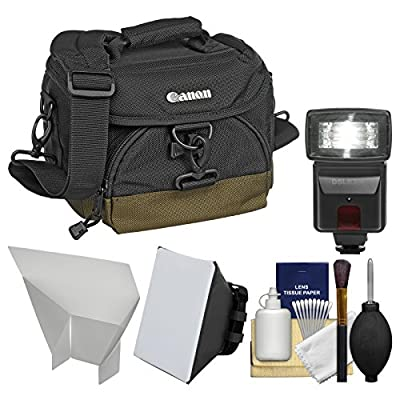 Canon 100EG Digital SLR Camera Case - Gadget Bag + Flash + Soft Box + Reflector Kit for EOS 6D, 70D, 7D Mark II, Rebel T5, T5i, T6i, T6s, SL1