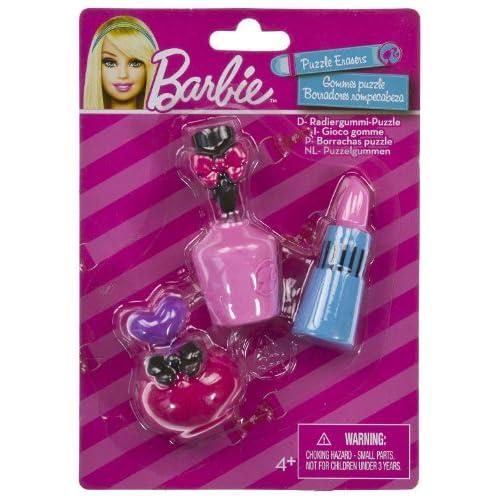 Amazon.com: Perfume, Nail Color, Lipstick (3 Mini-Erasers) - Barbie