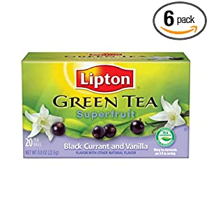 Lipton Green, Superfruit, Black Currant and Vanilla, 20-Count  Tea Bags (Pack of 6)