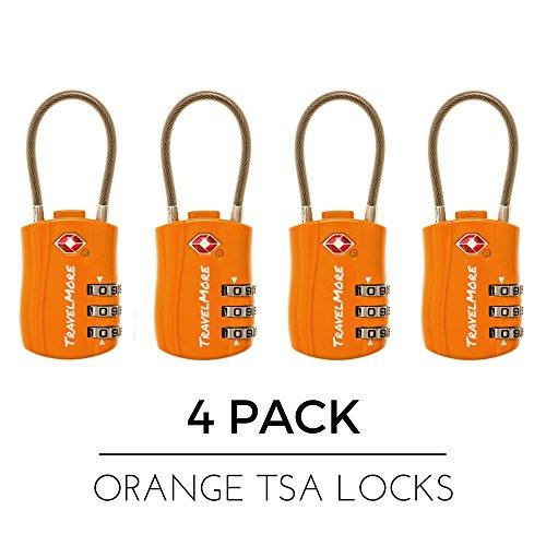 Lucchetti Valigia con Certificazione TSA - Lucchetti Bagagli a Combinazione da Viaggio a Cavo per Valigia & Zaino - Lucchetto Arancione Confezione da 4