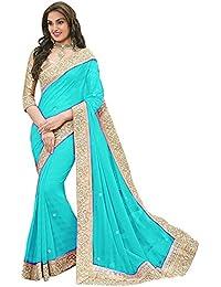 E Shop Online Women's Georgette Saree (ESHOPONLINE116 _Sky Blue _Free Size)