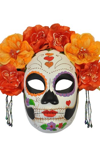 Pure Seasons La Calavera Catrina Masquerade Mask (Red/Orange)-Standard