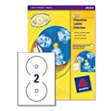 Avery CD/DVD Labels Inkjet 2 per Sheet Dia.117mm QuickDRY Ref J8676-25 [50 Labels]by Avery Dennison