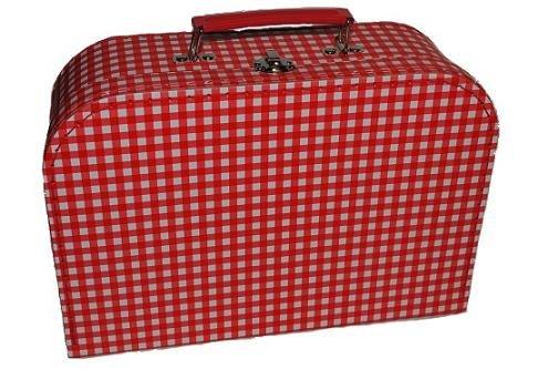 Kinderkoffer MITTEL Karo kariert rot weiß gemustert