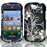 TRENDE - Samsung Galaxy Centura s738c / Samsung Galaxy Discover s730g Phone Case White Flowers Design Rubberized Hard Cover + Free Gift Box (Compatible Models: s738c, s730g, SCH-S738C, SGH-S730G)