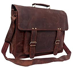 FeatherTouch Men\'s Rustic Leather Briefcase Travel Office Bag Macbook Medium Brown