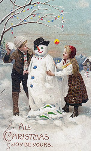 All Christmas Joy Be Yours Kids Making Snowman Scene (9x12 Collectible Art Print, Wall Decor Travel Poster)