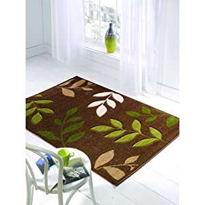 Orleans Manor Brown And Green Rugs Modern Floral Contemporary 3D Cheap And Affordable Bedroom Lounge Rug by Flair Rugs