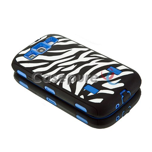 Mylife (Tm) Black And Blue - Zebra Stripe Print Armor Series (3 Piece Neo Hybrid Flexi Case + Urban Body Armor Glove) Case For Samsung Galaxy S3 Gt-I9300 And Gt-I9305 Touch Phone (Thick Silicone Outer Gel + Tough Rubberized Internal Shell + Mylife (Tm) Li