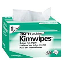 "Kimtech 34155 White KimWipes Delicate Task Wipers in Pop-Up Box, 4.4"" x 8.4"" Size (Case of 60 Boxes, 280 per Box)"