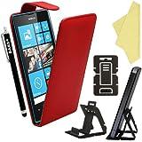 BAAS® Coque Nokia Lumia 520 Rouge Etui Cuir Clapet Housse + Film de Protection d'Ecran + Stylet Pour Ecran Tactile Capacitif