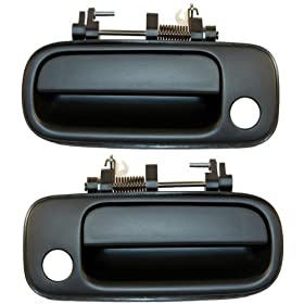 1992-1996 Toyota Camry Front Outside Outer Exterior Black Door Handle Pair Set Left Driver AND Right Passenger Side (1992 92 1993 93 1994 94 1995 95 1996 96)