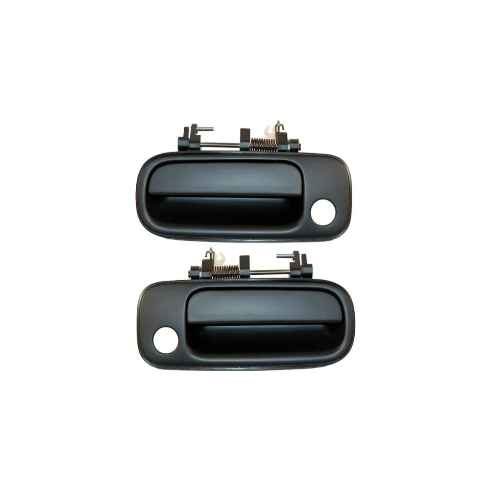 1992 1996 Toyota Camry Front Outside Outer Exterior Black Door Handle Pair Set Left Driver AND Right Passenger Side (1992 92 1993 93 1994 94 1995 95 1996 96)
