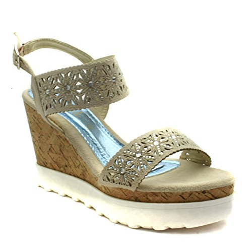 DW156 Divinas Barcelona Ladies High Wedge Sandal in Off White Punched Detailing Taglia 37