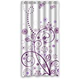 "Luxury Graceful Beautiful Purple Flowers Elegant Pattern Shower Curtain 36""x72"" New Waterproof Polyester Fabric - Graceful Bathroom Curtain"