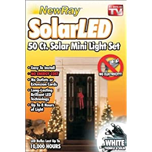 Click to read our review of Christmas Solar Lights: Solar Powered LED Holiday String Lights, White