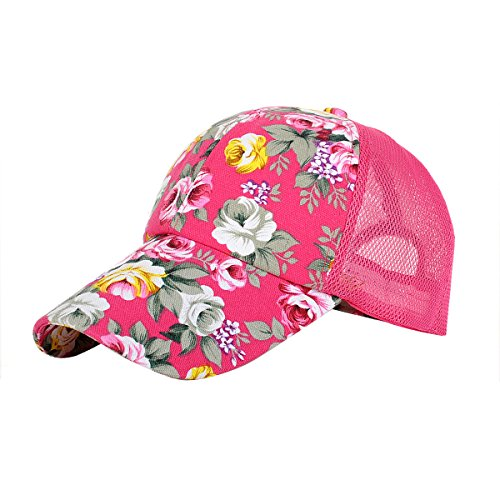 d77d107f4bc Eforstore Snapback Baseball Cap Floral Perforated Ball Caps Golf Hats  Summer Mesh Hat for Women Teens