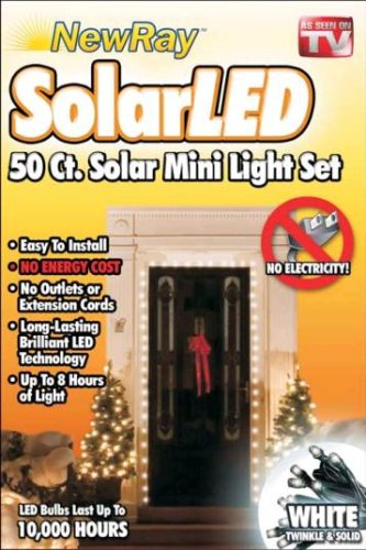 Solar Powered LED Holiday String Lights, White