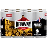 Brawny Paper Towels, White, 8 Giant Rolls