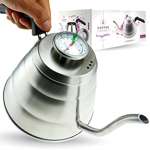 Pour Over Coffee Kettle with Thermometer - Gooseneck Drip Stainless Steel Stovetop Tea Pot (1L) (Cone Tea Kettle compare prices)