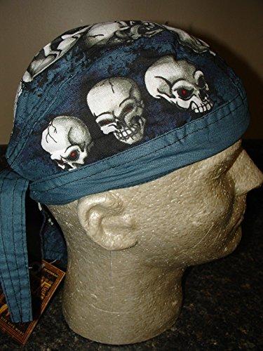 Danbanna Deluxe Head Wrap Durag Skull Cap Blue Grey Black White Skull Pile Up