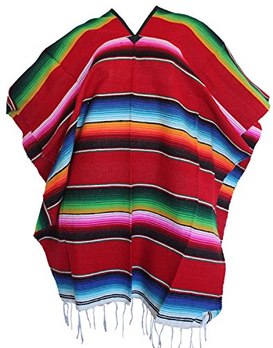 Mexican Serape Poncho Pancho Adult Costume Red