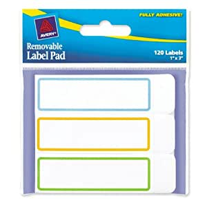 Avery Removable Label Pad, 1 x 3 Inches, Assorted Borders, 120 Labels (22014)