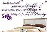 Sticker World 4 U Aerosmith I Could Stay Awake Hear Breathing Wall Art Sticker Quote Bedroom Color- Grey Size- Medium 40Cm H X 90Cm W