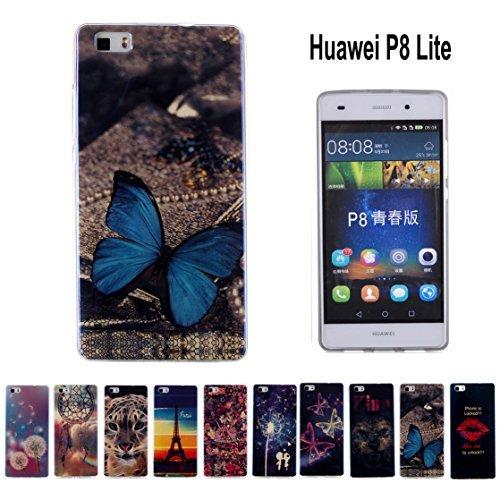 Romtronic Soft TPU Blu-ray Cover Case, Ultra Slim Soft Schutz Handyhülle GEL TPU Schutzhülle Tasche Handyschale für Huawei P8 Lite + 1x Schirm-Schutzfilm + 1x Stylus (Design 09)