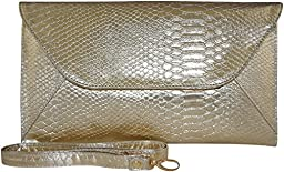 Patzino Fashion Collection, Faux Leather Croco Chic Women\'s Envelope Clutch (Gold II)