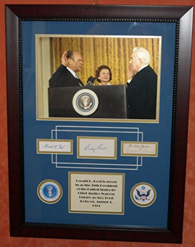 GERALD FORD, BETTY FORD & WARREN BURGER Signed Autograph Photo FRAMED PRESIDENTIAL JSA LOA (Gerald Ford Autograph compare prices)