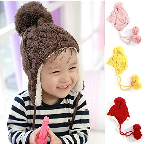 Baby Hat New Arrival Children Knitted Hats Winter Keep Warm Crochet Cap Girls Boys Beanie Pink