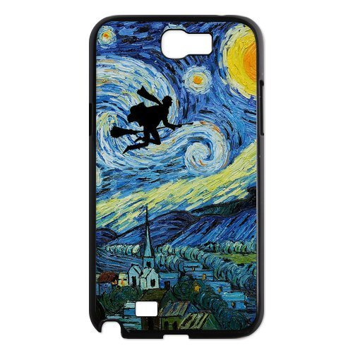 Funny HARRY PORTER Ridiing Broom & VAN GOGH Starry Night Samsung Galaxy Note 2 II N7100 Case Cover – Best Protective Hard Shell for Samsung image