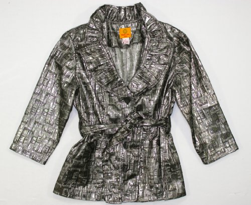 Ruby Rd Chic Mystique 3/4 Sleeve Belted Jacket Black Silver 10P