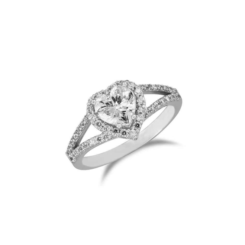 14k White Gold Prong Set Heart Shape Center with Side Stones CZ Cubic Zirconia Bridal Wedding Engagement Solitaire Ring 1.5ct