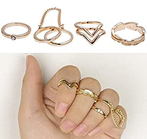 Set of 5 Exceptional Golden Colored Rings Including 1 Double Ring In 5 Different Shapes By VAGA
