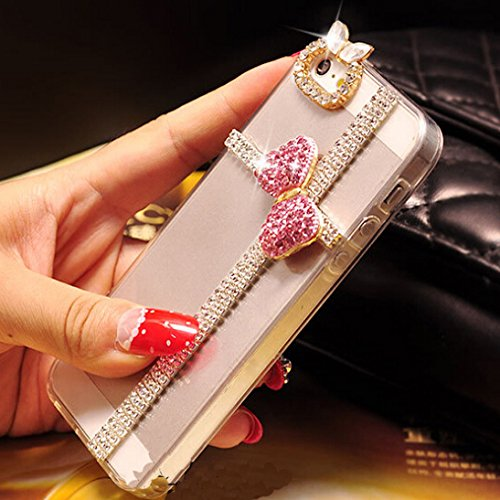 3d Handmade Clear Bling Bow Bowknot Crystal Rhinestone Diamond Skin Case Cover for iPhone 6 4.7 inch Screen