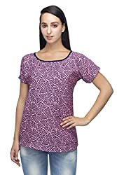 Indietoga plus size Women's crepe pink abstract printed designer casual Top 7XL