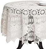 SARO LIFESTYLE 869 Crochet Tablecloths, 72-Inch, Round, White