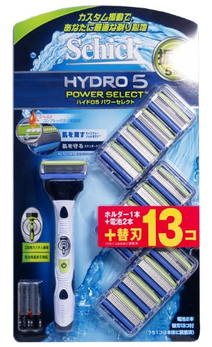 Schick シック 振動5枚刃 ハイドロ5 パワーセレクト 替刃13個付き 電動髭剃り