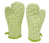 ELAN Cotton Microwave Oven Gloves 18 X 32 CM (Green Ghingham) (Set of 2)