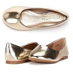 Dream Pairs MUY Mary Jane Casual Slip On Ballerina Flat (Toddler/ Little Girl) New,13 M US Little Kid,MUY-GOLD PU