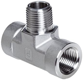 Parker Stainless Steel 316 Pipe Fitting, Branch Tee, NPT Female X NPT Female X NPT Male
