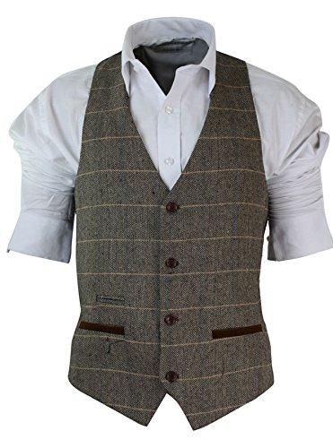 gilet-homme-vintage-tweed-a-carreaux-et-chevrons-marron-tan-gris-charbon-coupe-cintree-bordure-en-ve